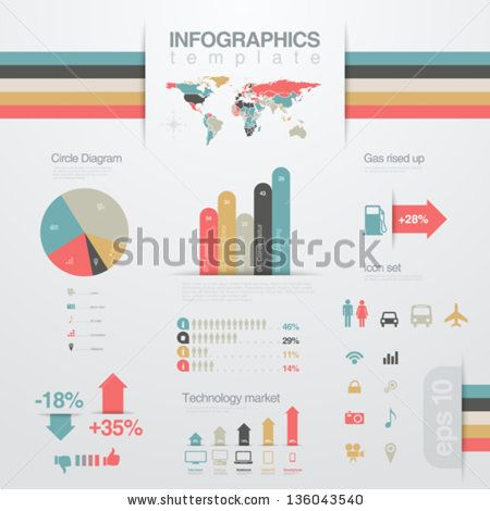 Infographics design elements template Business report Financial - graphs and charts templates