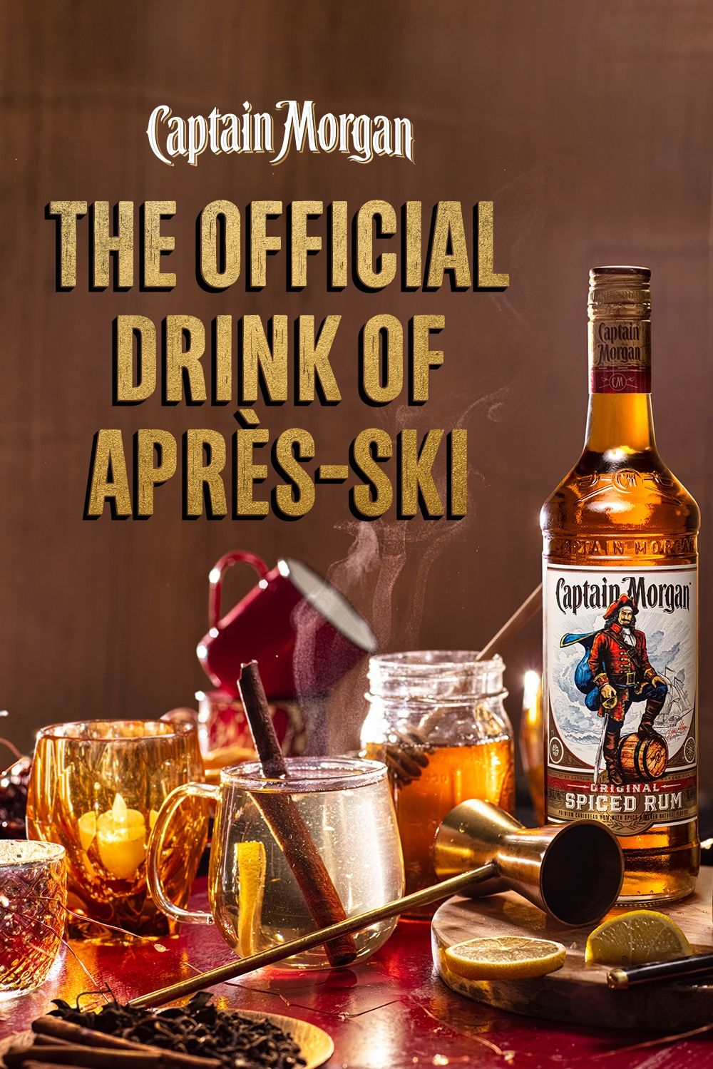 Apres Ski Means There S More Fun To Be Had Pour A Captain Morgan Hot Toddy And Tell Everyone How Great You Were Out There Or In 2021 Spiced Rum Drinks Captain Morgan