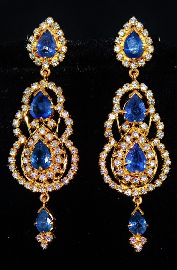 Certified top quality no heat natural 8.64cts vvs F brilliant diamond vivid blue ceylon sapphire 18k solid gold chandelier earrings