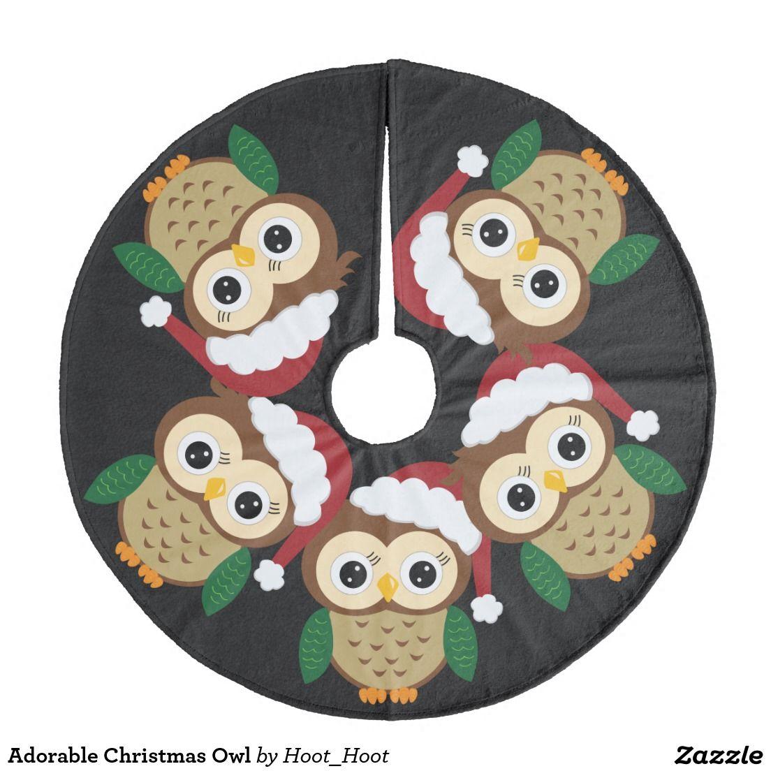 Adorable christmas owl fleece tree skirt christmas owls and tree