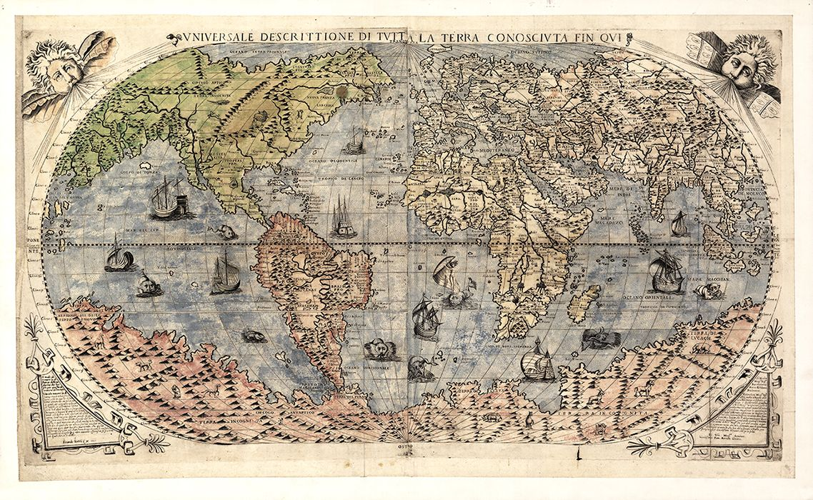 1565 Antique World Map With Sea Monsters Framed Giclee Map Is Available In Many Sizes Unframed Or Framed In Gic Antique World Map Ancient Maps Old World Maps