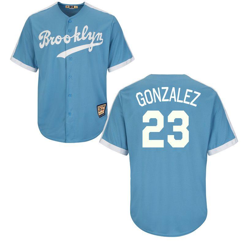 ef305413a85 Dodgers 23 Adrian Gonzalez Light Blue Cooperstown Throwback Jersey ...