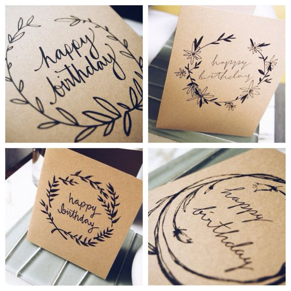 Hand lettered calligraphy birthday card by lostandsound