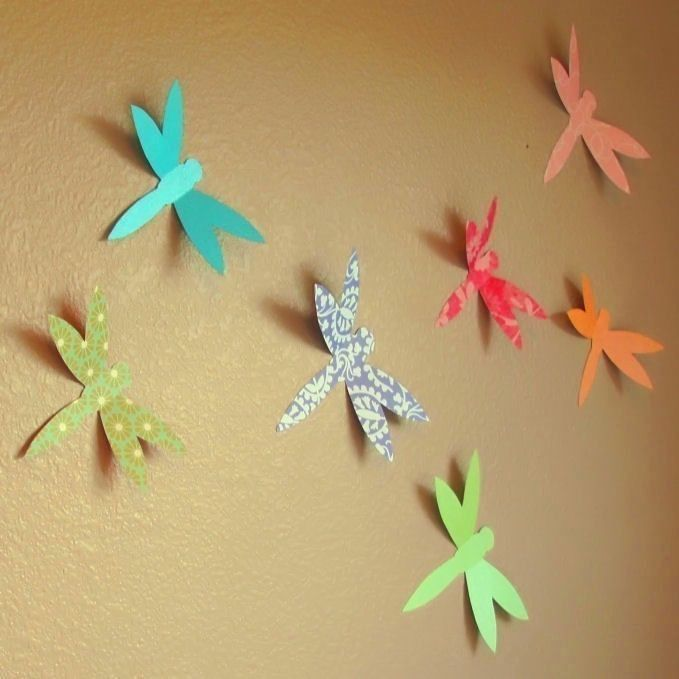 Dainty Dragonfly Handmade Paper Wall Art - Custom Pattern and Solid ...