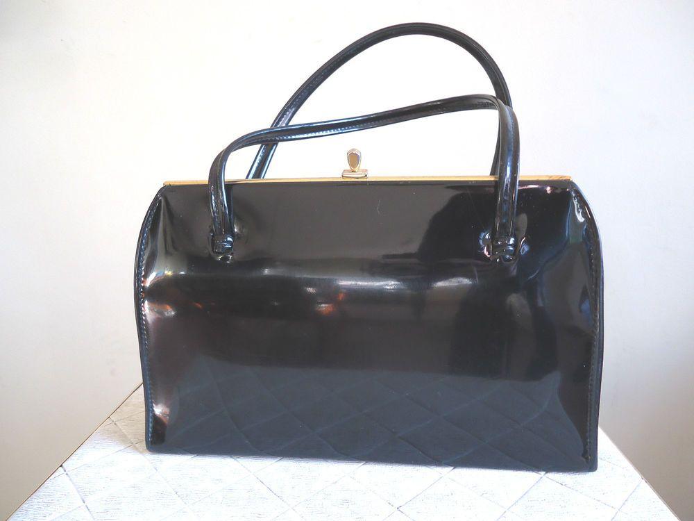 8f62b06d856 VINTAGE 1960s ST MICHAEL M S BLACK PATENT FAUX LEATHER VINYL HANDBAG BOX BAG