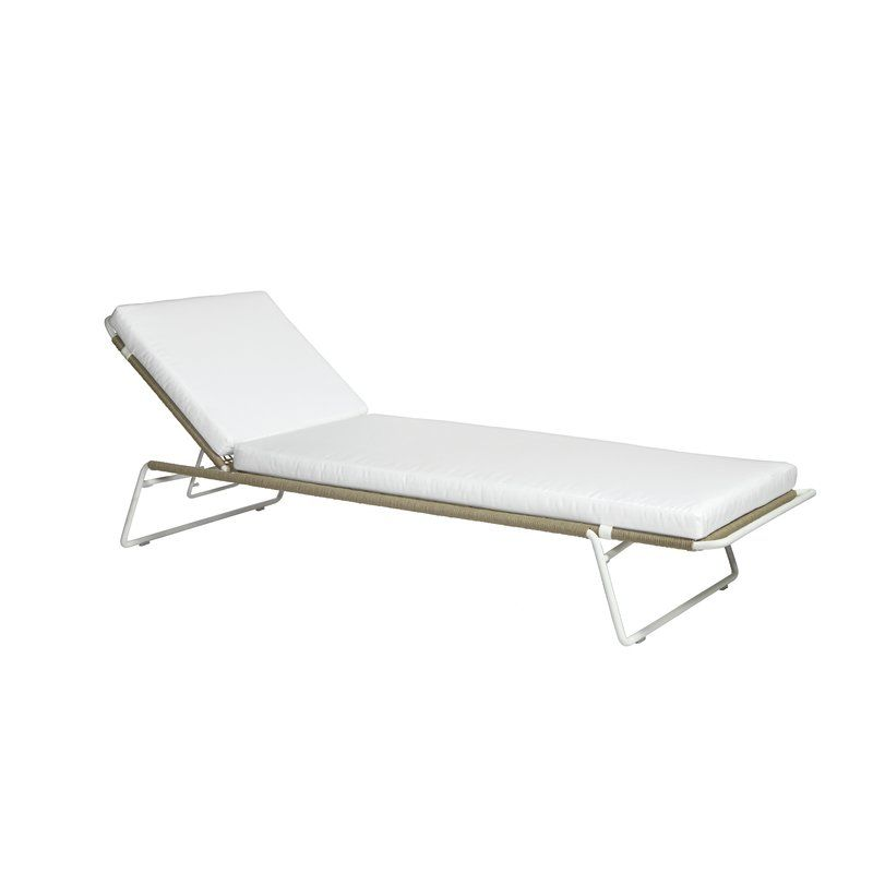 Sandur Sun Chaise Lounge With Cushion Frame Color Taupe Rope Stainless Steel Frame Cushion Color Canvas Chaise Lounge Teak Chaise Lounge Pool Chaise Lounge