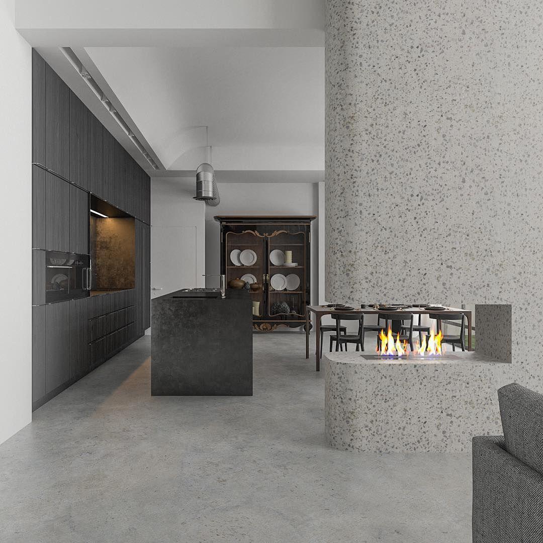 Fireplace Design Walls Made With Terrazzo Terrazzo