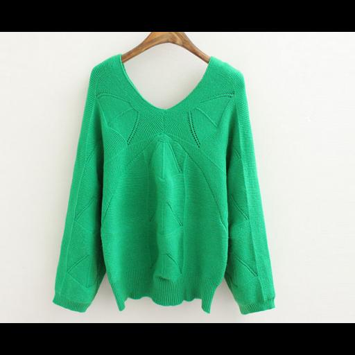 بلوزات من قماش الصوف الناعم بأكمام طويلة واسعة بلوزات فتحة سبعة من الأمام والخلف البلوزات متوفرة بالألوان سكري وردي اخضر Fashion Blouse Sweaters