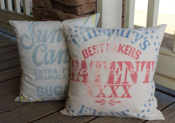 Vintage Flour Sack Pillow Pillsbury Faded Red Blue Shabby Chic