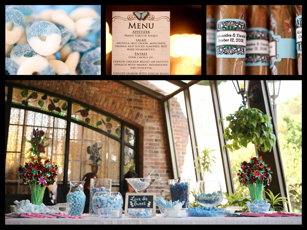 Wedding - candy bar, personalized cigars, menu. Aqua and pink