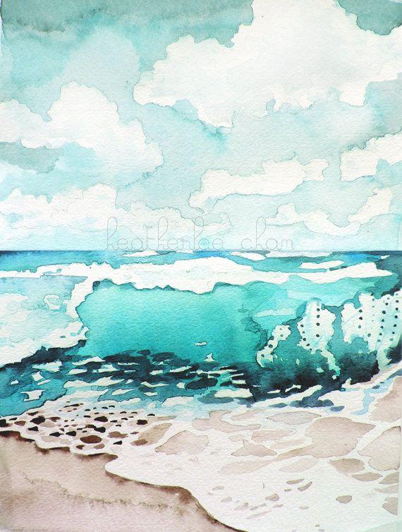 Beach Painting Watercolor Landscape Print Watercolor