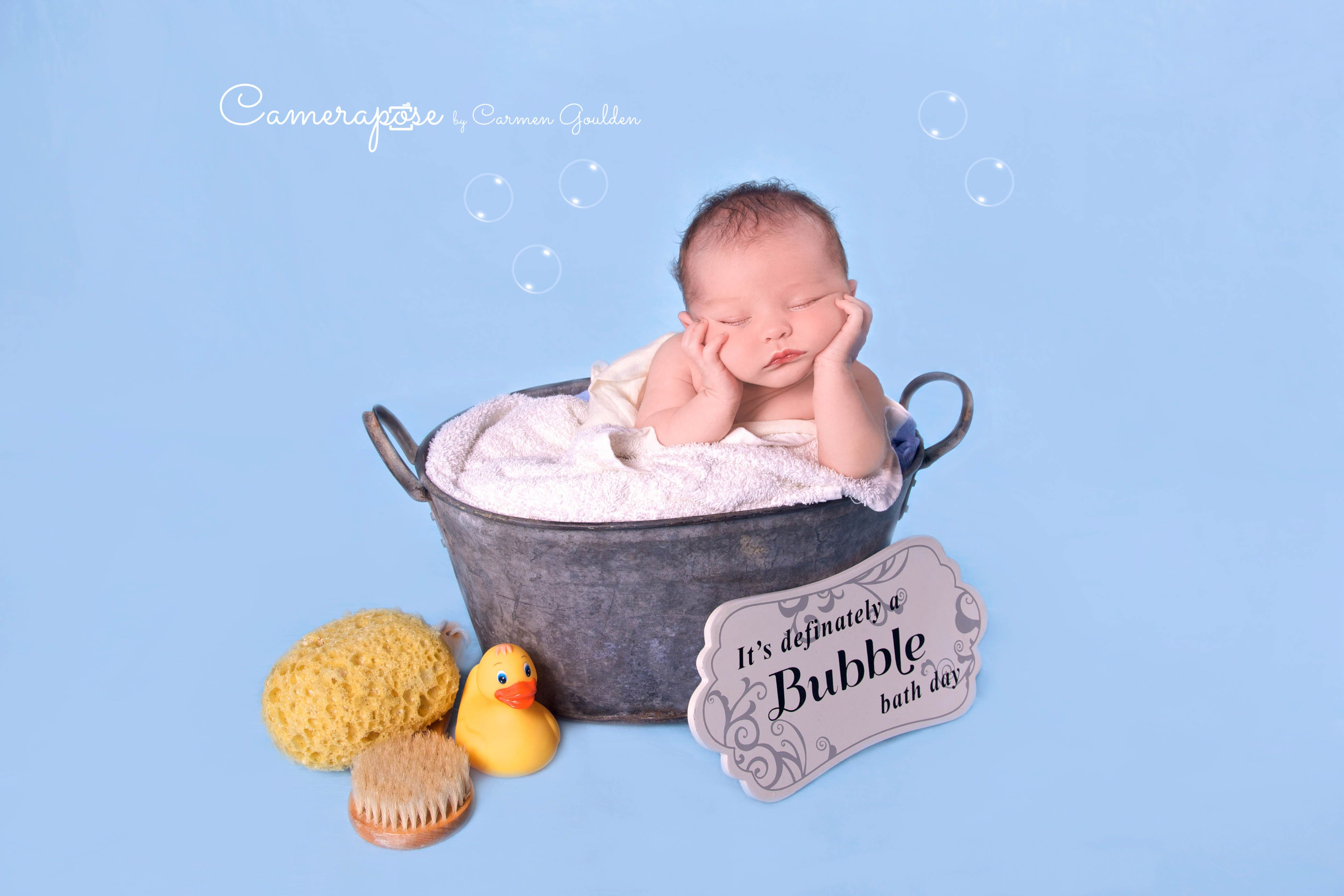 Newborn baby Jacob. This is the bath time theme with metal bath ...