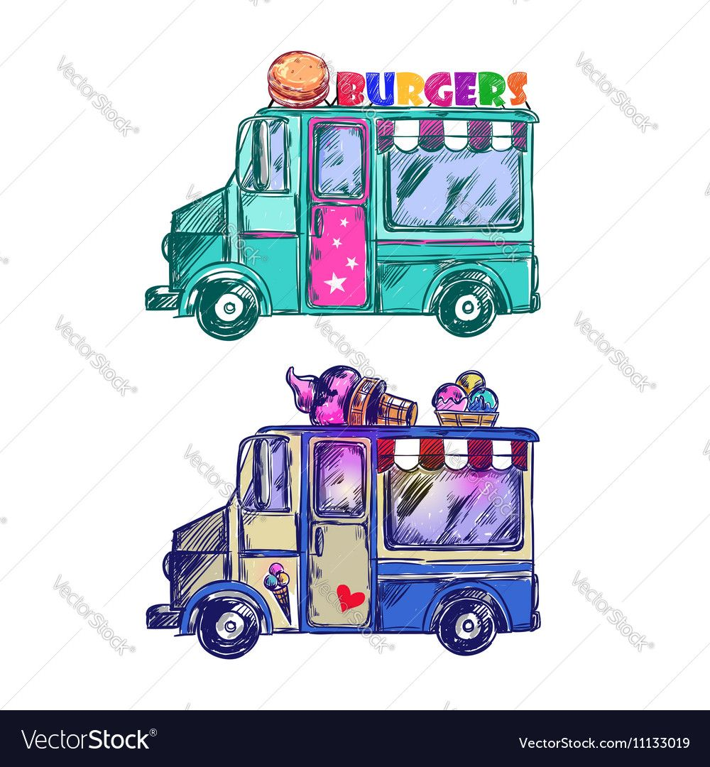 Food Truck Sketch Vector Image By Vectorpot Food Truck Cute Drawings Vector Illustration