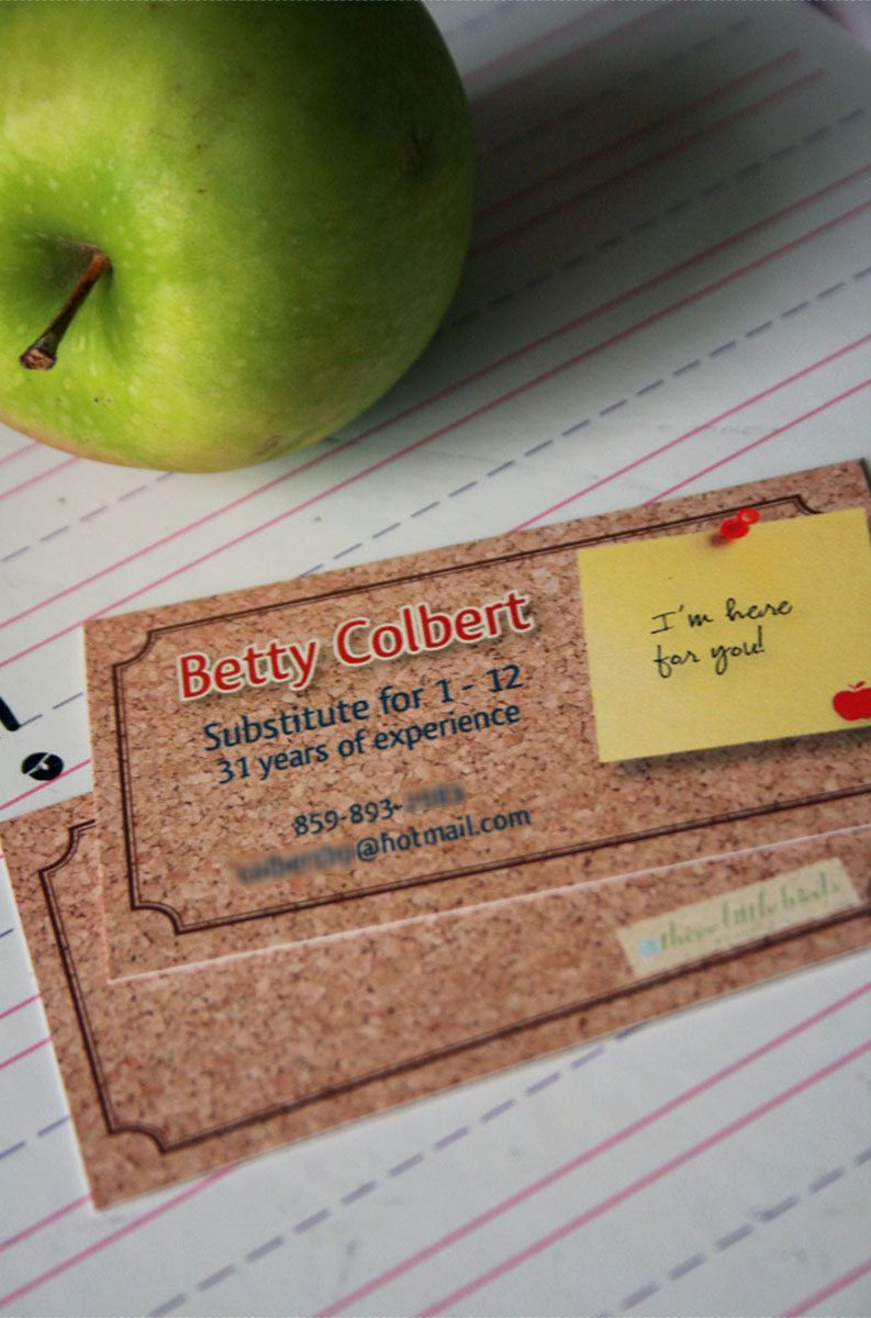 Substitute teacher business cards. | Three Little Birds Designs ...