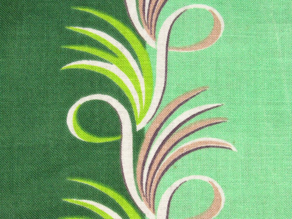 Jadite Ferns 30s Art Deco Cabana Cottage VTG Barkcloth Era Fabric Drape Curtain