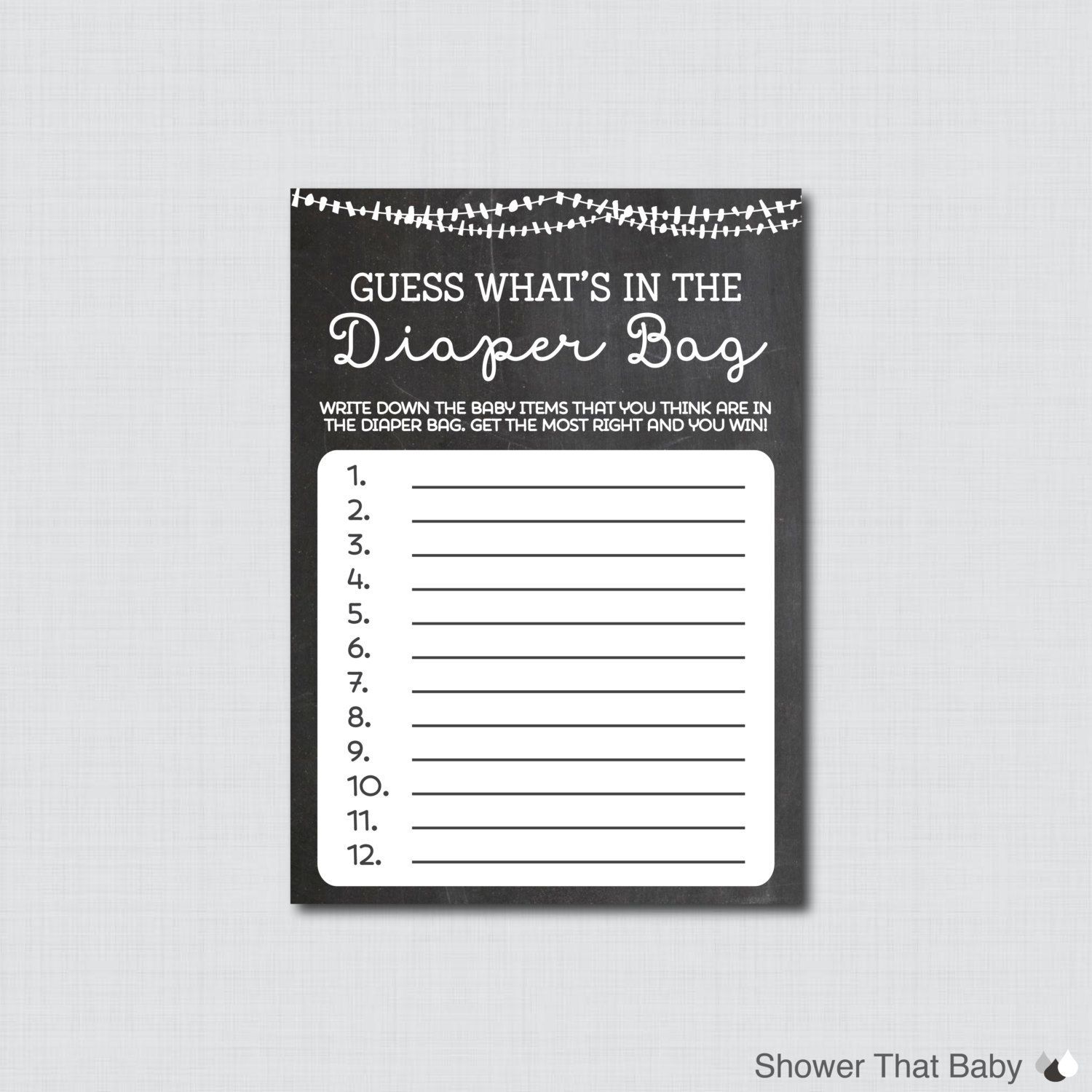 Baby Shower Diaper Bag Game Guess Whats In The By Showerthatbaby Baby Shower  Diaper Bag Game