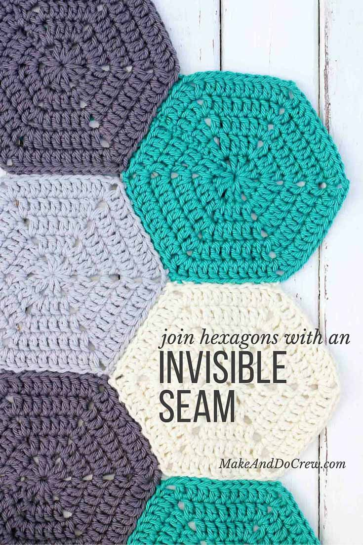 Knitting Blanket Stitch Seam : How To Join Crochet Hexagons With an Invisible Seam Granny squares, Afghans...