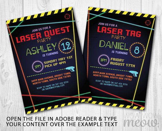 Laser Tag Invitations Birthday Party Any Age Lets Glow Dark INSTANT