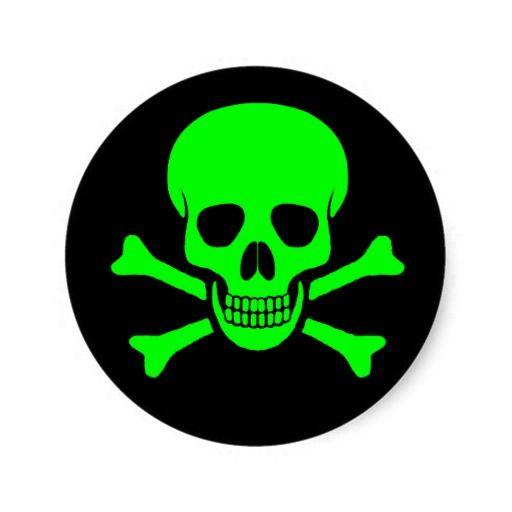 Green black skull crossbones sticker