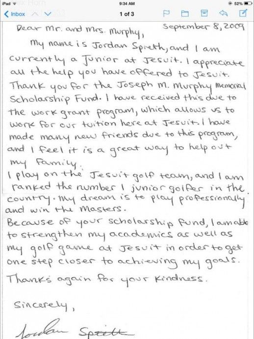 Jordan Spieth Writes Thank You Letter To Family Who Helped Pay For