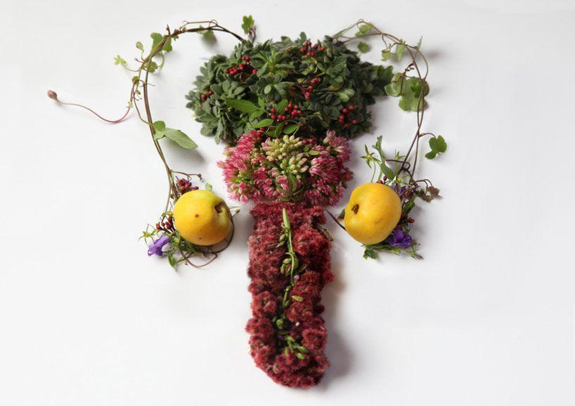 Resultat d'imatges de artista que hace el utero con hojas