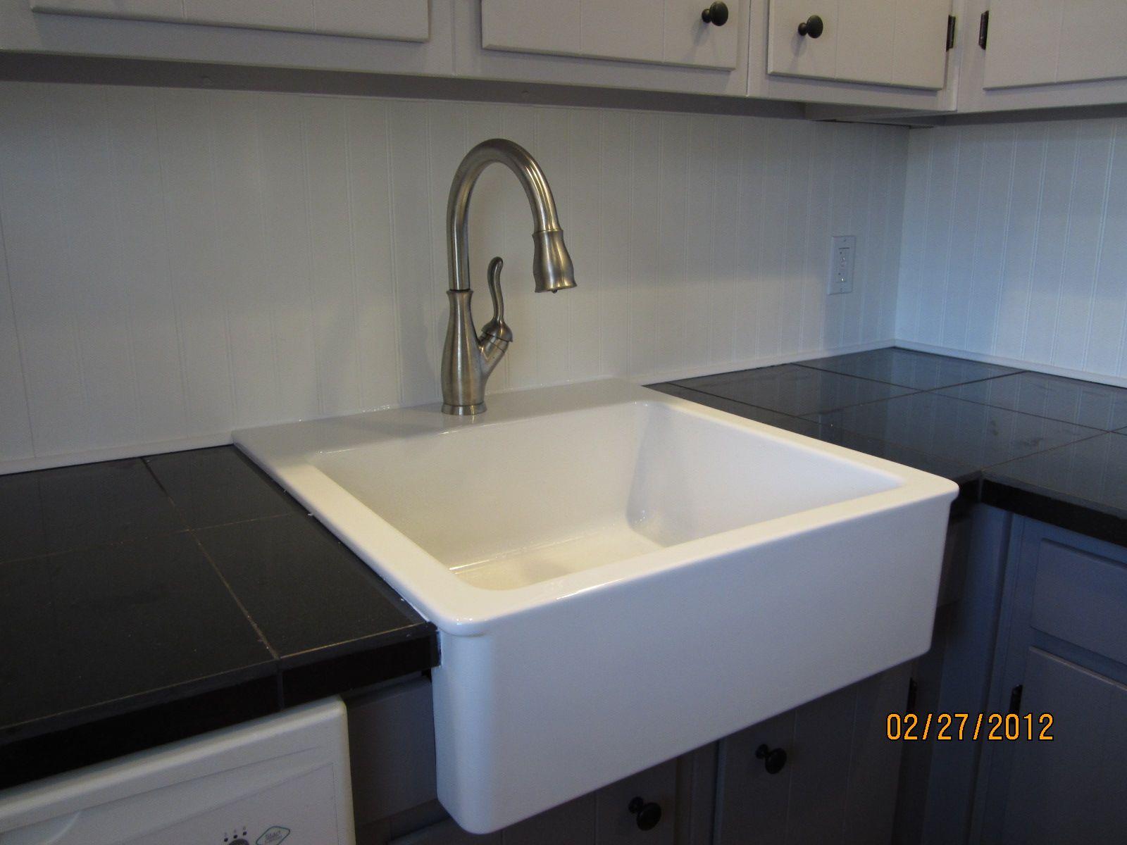 Kitchen After New Sink Granite Tile Counter Beadboard Stunning Kitchen Sink Backsplash Design Inspiration
