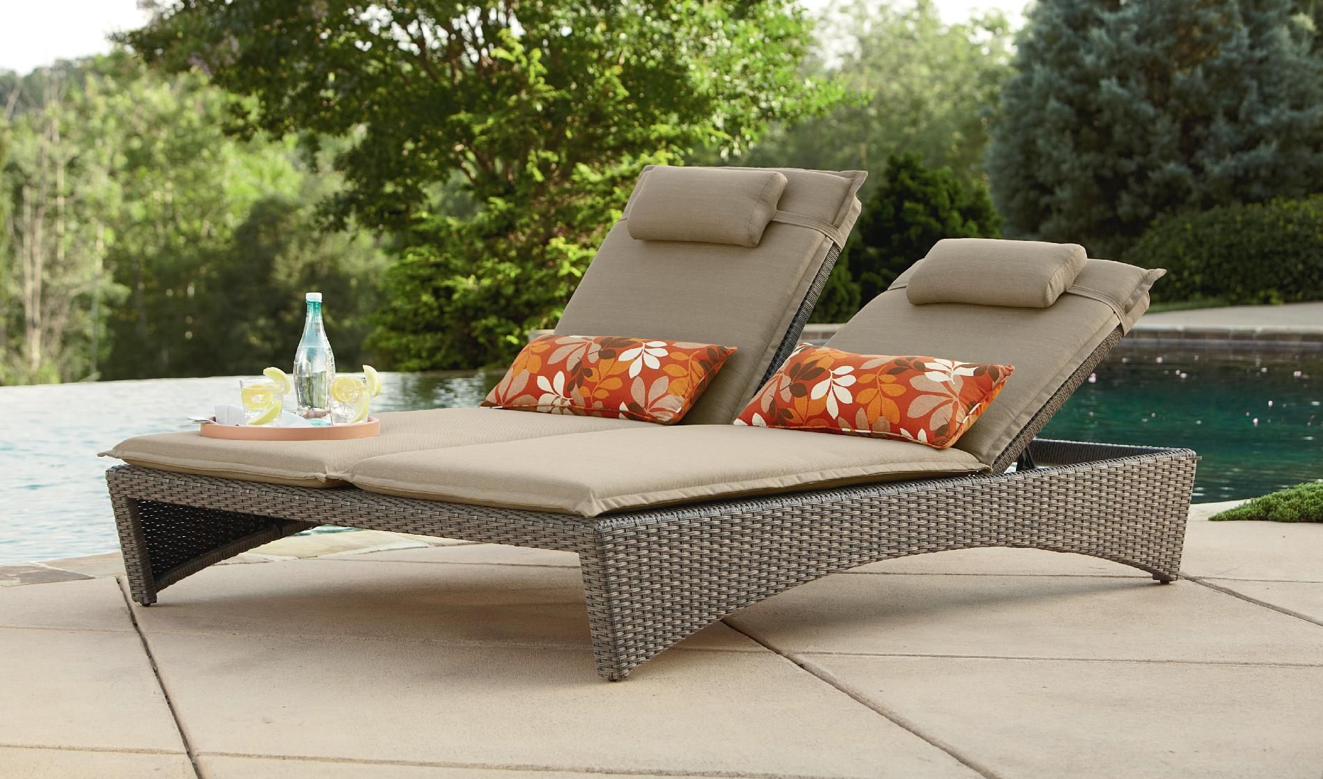 Ty Pennington Style Madison Double Chaise Lounge Outdoor Living Patio Furniture Pool Chaise Lounge Lounge