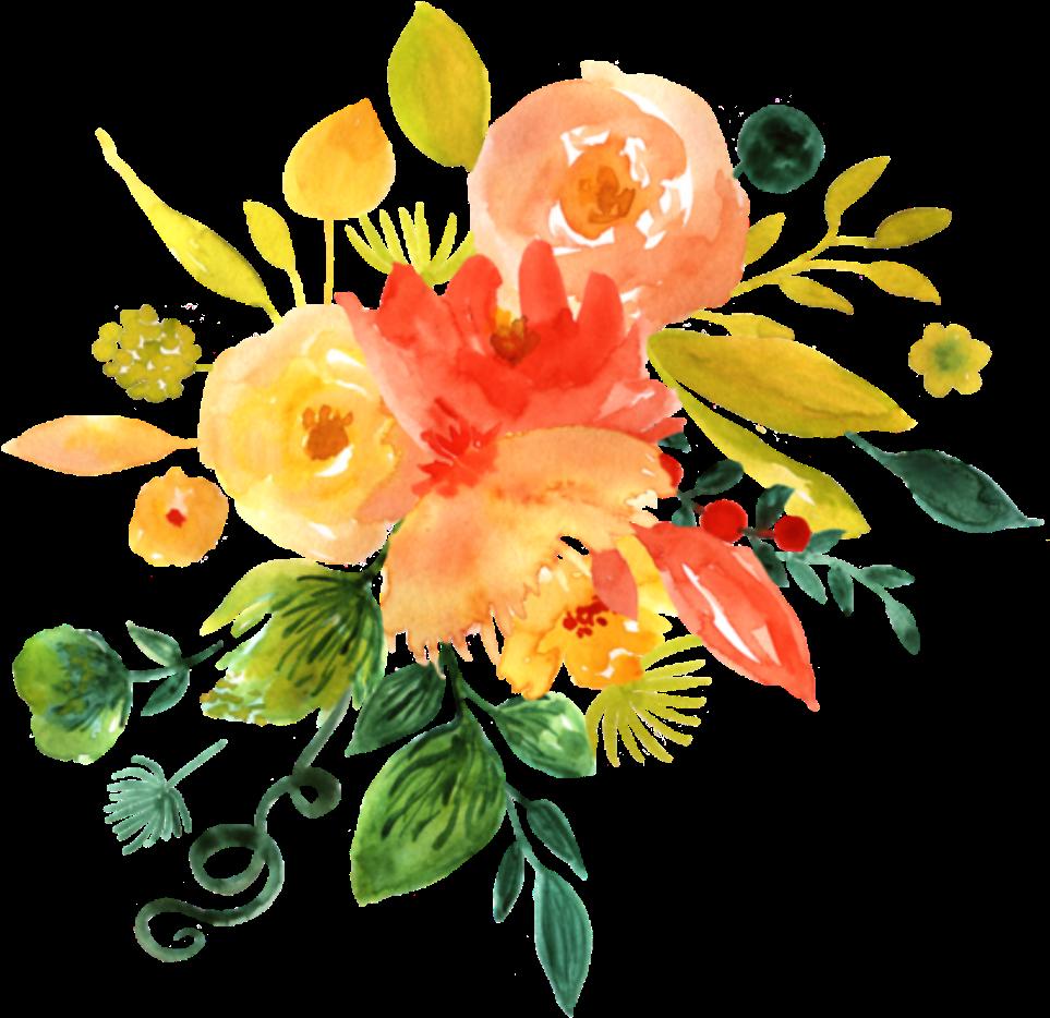 Open full size Ftestickers Watercolor Flowers Orange