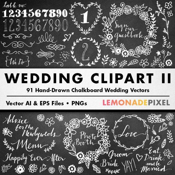 My Wedding Invite Clip Art At Clker Com: Chalkboard Wedding Clipart II