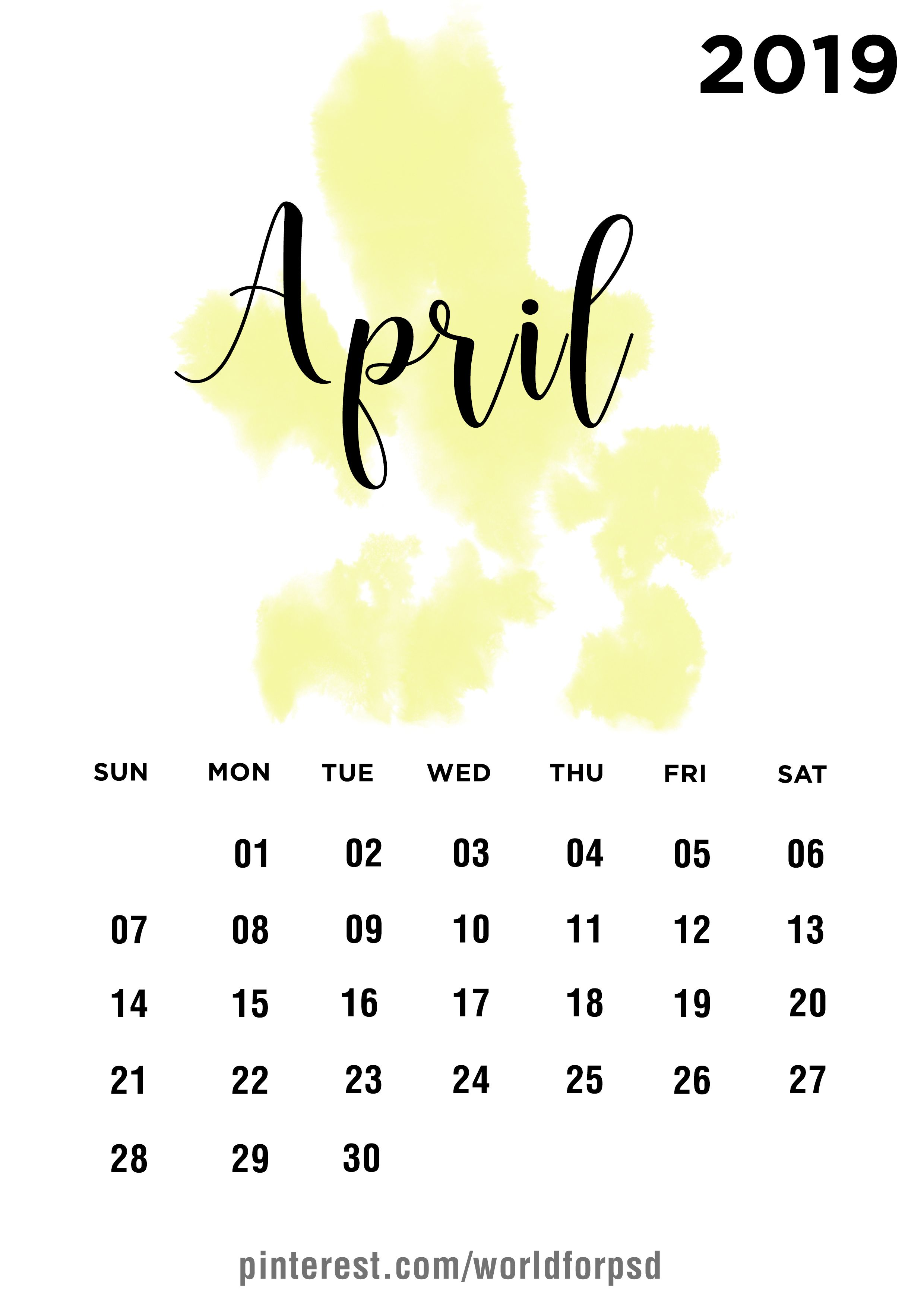 April 2019 Calendar Design Calendar Calendarideas Newyear