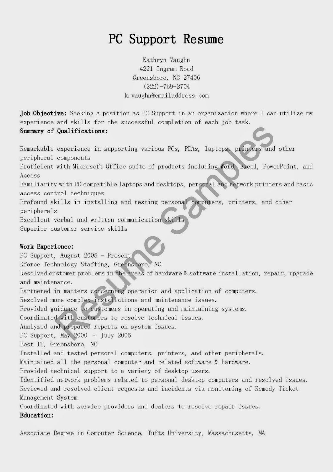 Pc support resume sample resume supportive best resume