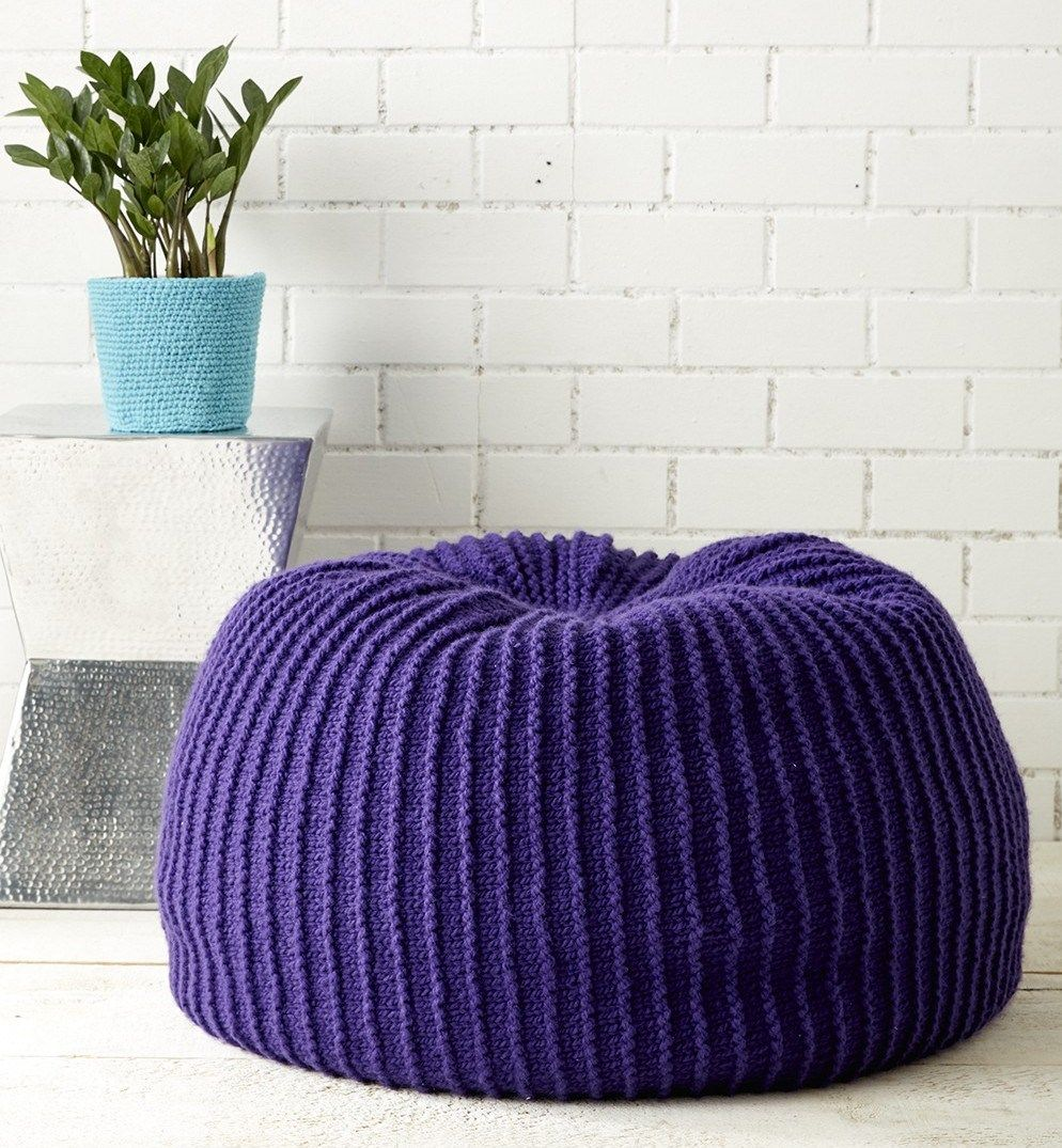 Free knitting pattern for comfortable pouf | Crochet home ...