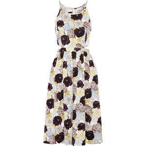 Suno Cutout floral-print stretch-silk dress