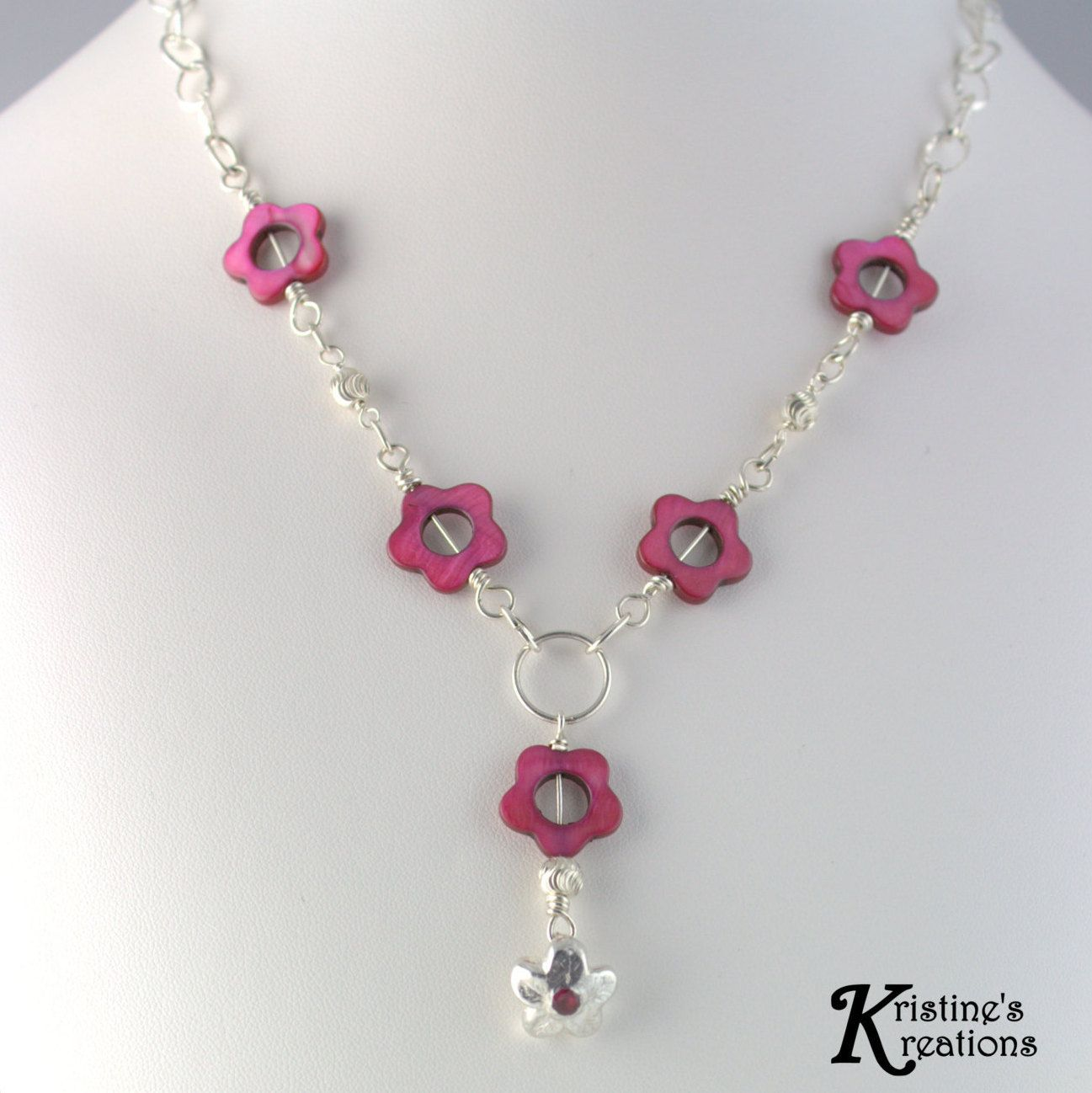 Fuchsia Flower Necklace Fine Sliver Flower With Ruby Sone Setting Y Drop Mother Of Pearl Fuchsia Flower Bead With Fine Silver Flower Fuchsia Flower Silver Metal Clay Flower Necklace