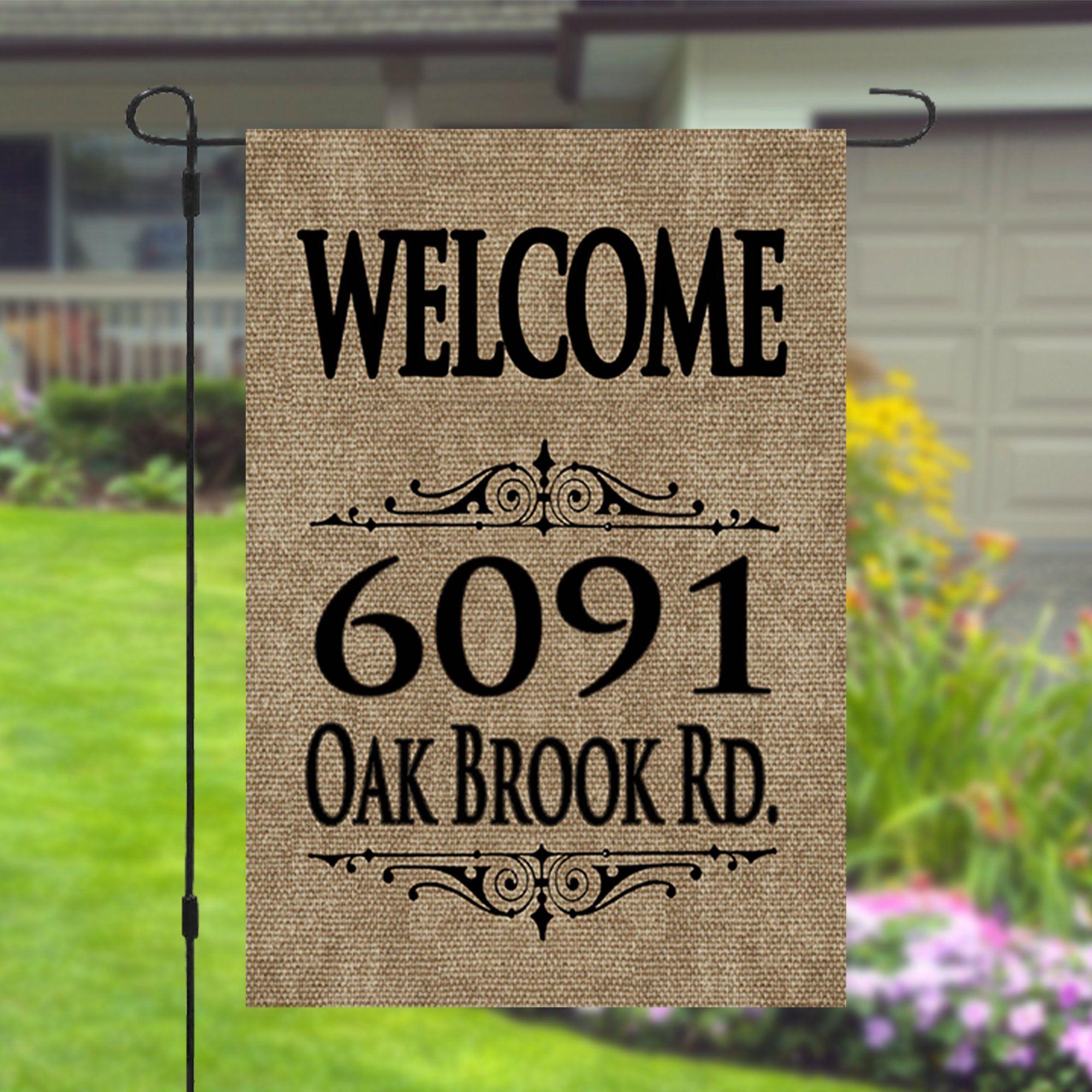 Custom Street Address Welcome Sign Personalized Garden Banner Etsy In 2020 Personalized Signs Welcome Sign Custom Flags