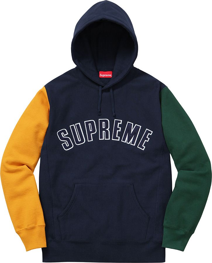 Supreme Color Blocked Arc Logo Hooded Sweatshirt  33c917c16