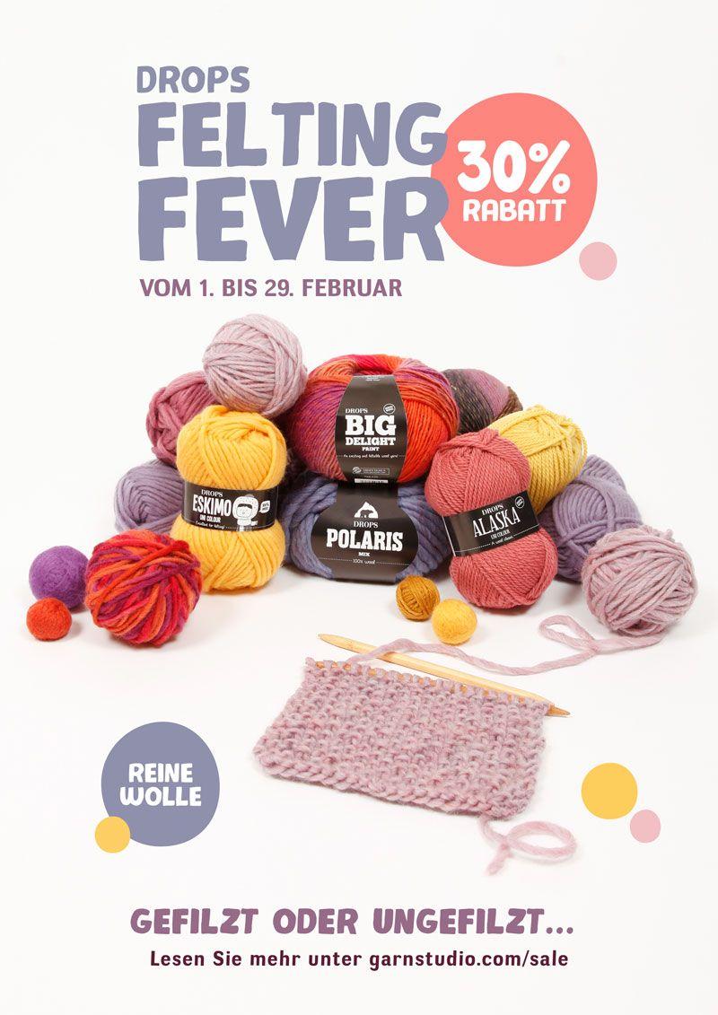 Photo of DROPS Felting Fever: 30% RABATT auf 4 Garne aus reiner Wolle!