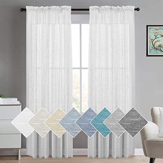 Amazon.com: Turquoize Decorative Linen Sheer Curtains