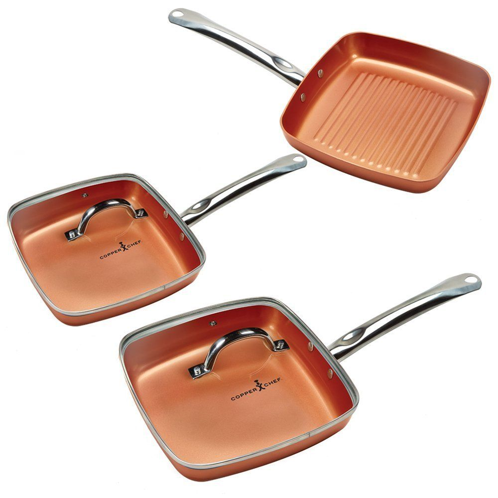 Set Includes 8 Griddle Pan 11 Griddle 9 5 Grill Pan 9 5 Glass Lid 11 Glass Lid 9 5 Grill Pan Copper Chef Copper Kitchen Accessories Copper Cookware