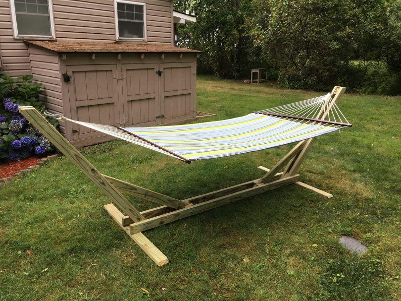 DIY Hammock Stand Diy hammock, Wooden hammock, Hammock stand