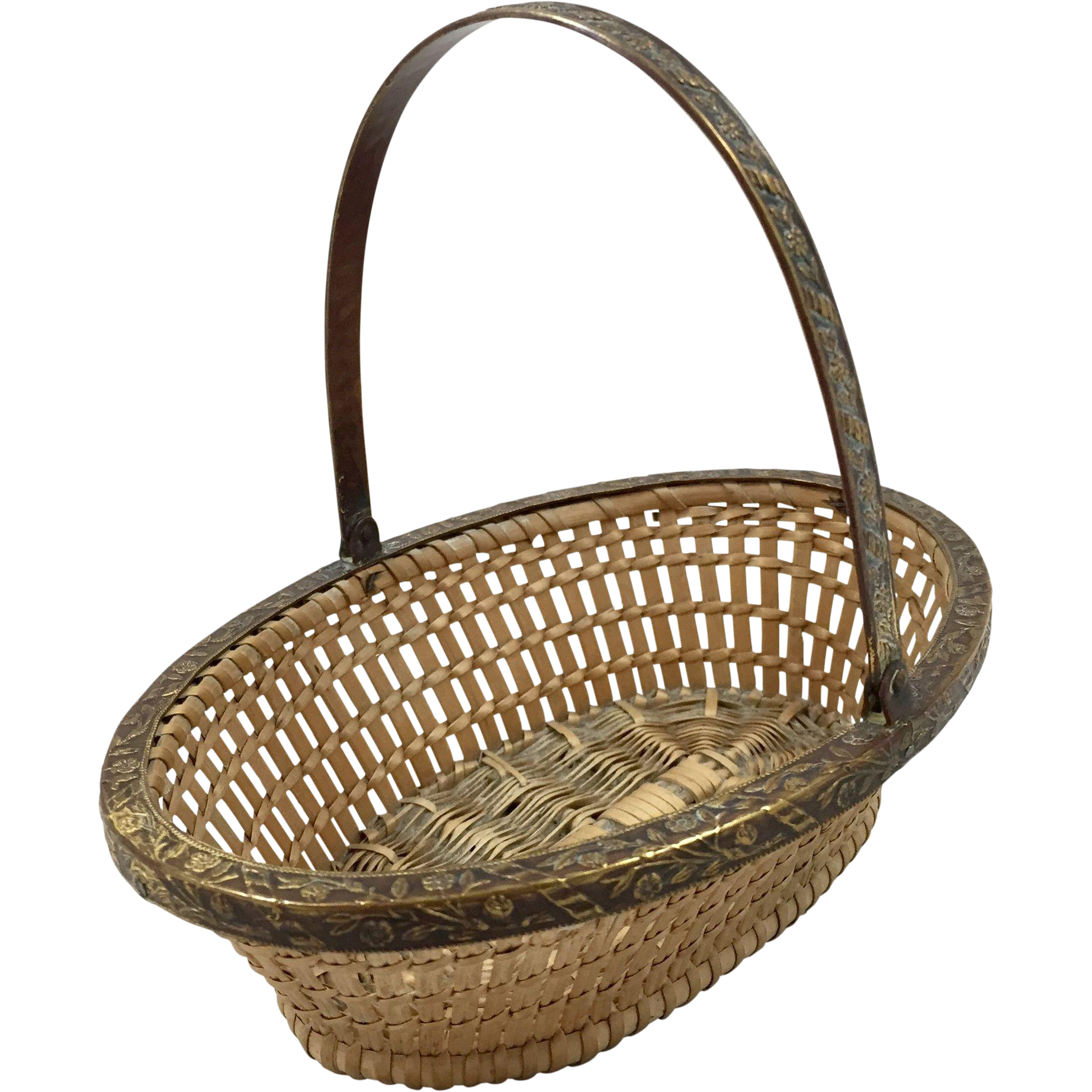 Small French Wicker Work Basket from Antiques of River Oaks on Ruby Lane $295 - Questions Call: 713-961-3333