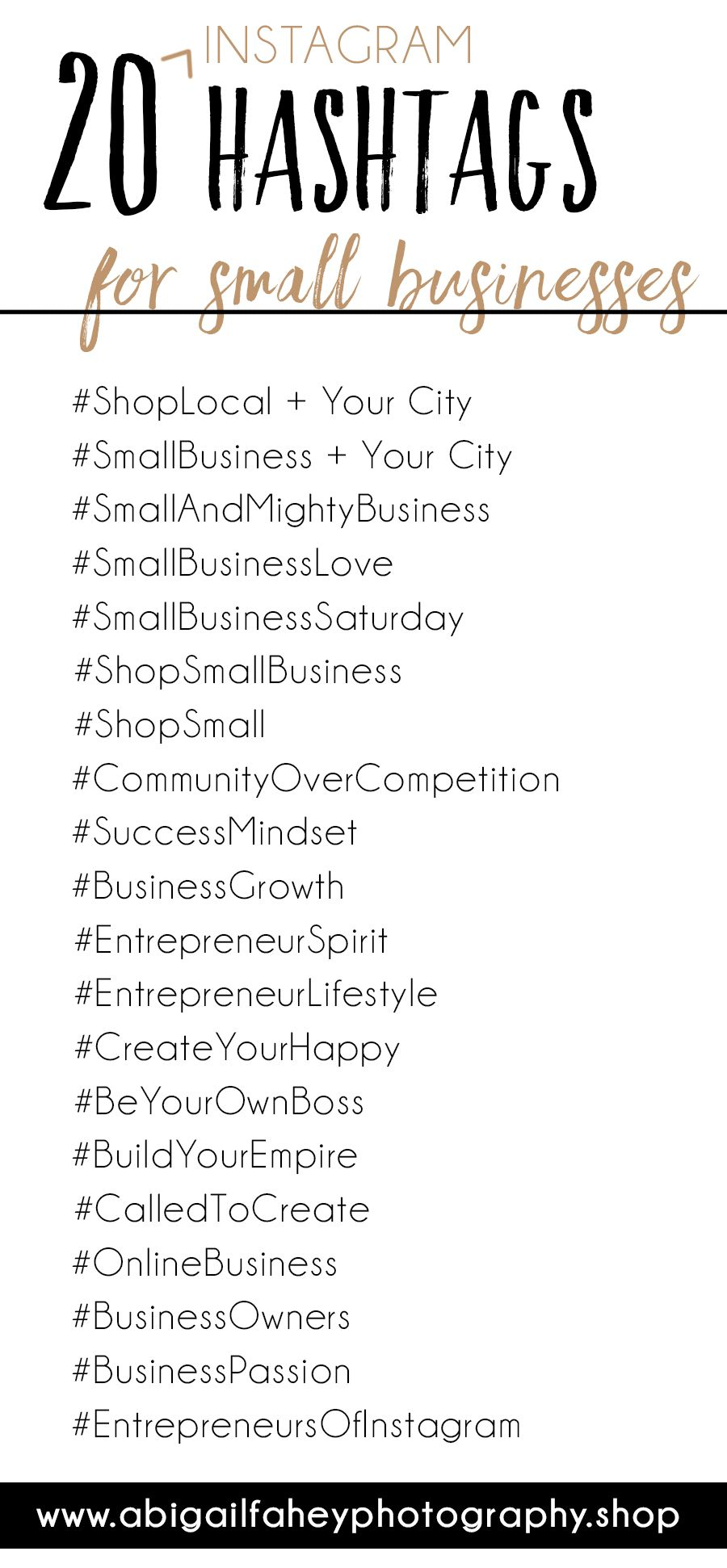 20 Instagram Hashtags For Your Small Business Business Hashtags Small Business Social Media Instagram Business