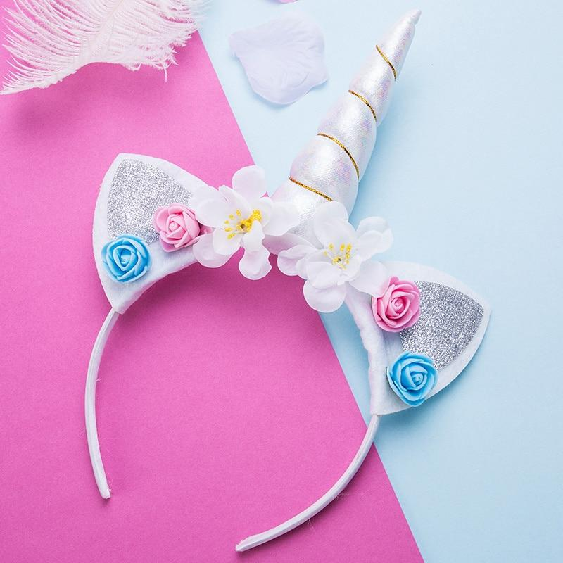 Party Birthday Horn Delicate Unicorn Elastic Hairband Headband Girls Cosplay