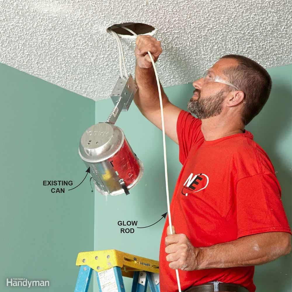 When Youre Installing New Recessed Can Lighting Fishing Wires From Wiring A Light Electrical Wire Through Walls Wiringrecessed Lightcan