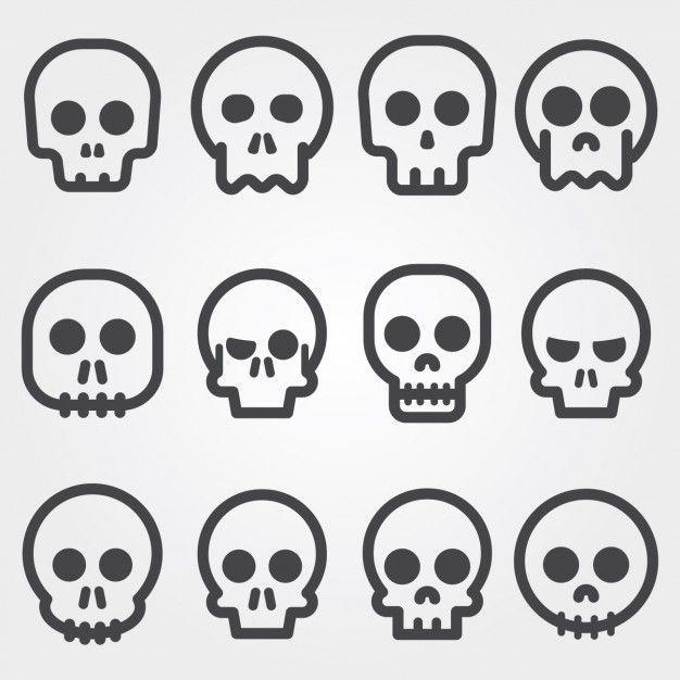 """9d2bd4010e224 A variety pack of skulls! alvaro cabrera   Freepik   """"Crânio ícones coleção"""""""