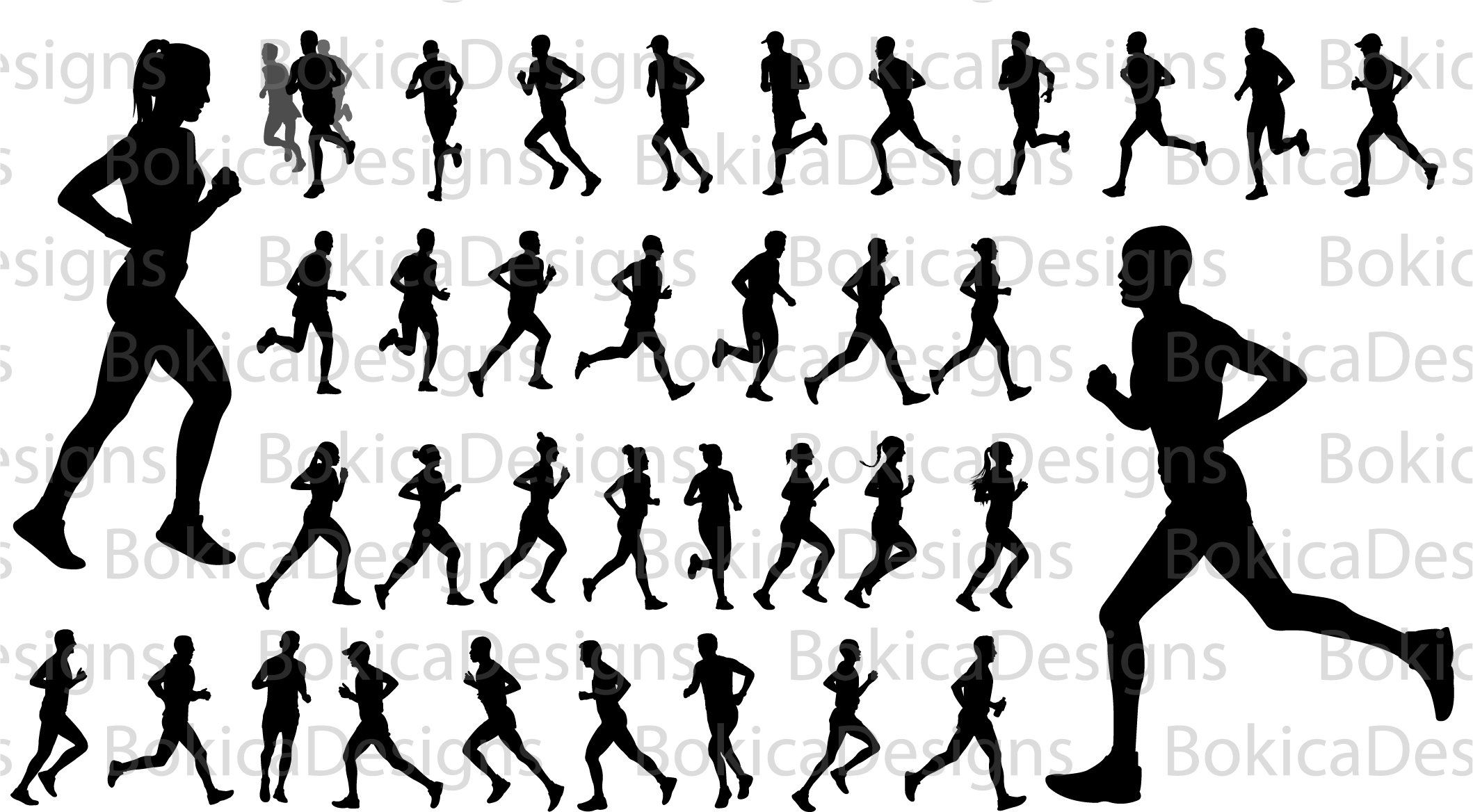 Runners Silhouette Runners Clipart Runners Svg Runners Png Etsy Silhouette Vector Vector Artwork Silhouette