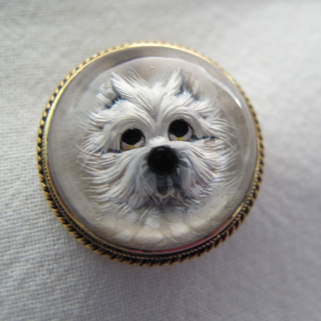 Stunning Victorian Oval Essex Crystal Terrier Dog 14k Solid Gold