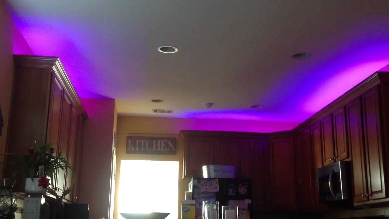 Fascinating Strip Led Kitchen Lighting Purple Color Led Lights Above The Kitchen Cabinets Brown Wooden K Kitchen Led Lighting Kitchen Lighting Led Lighting Diy