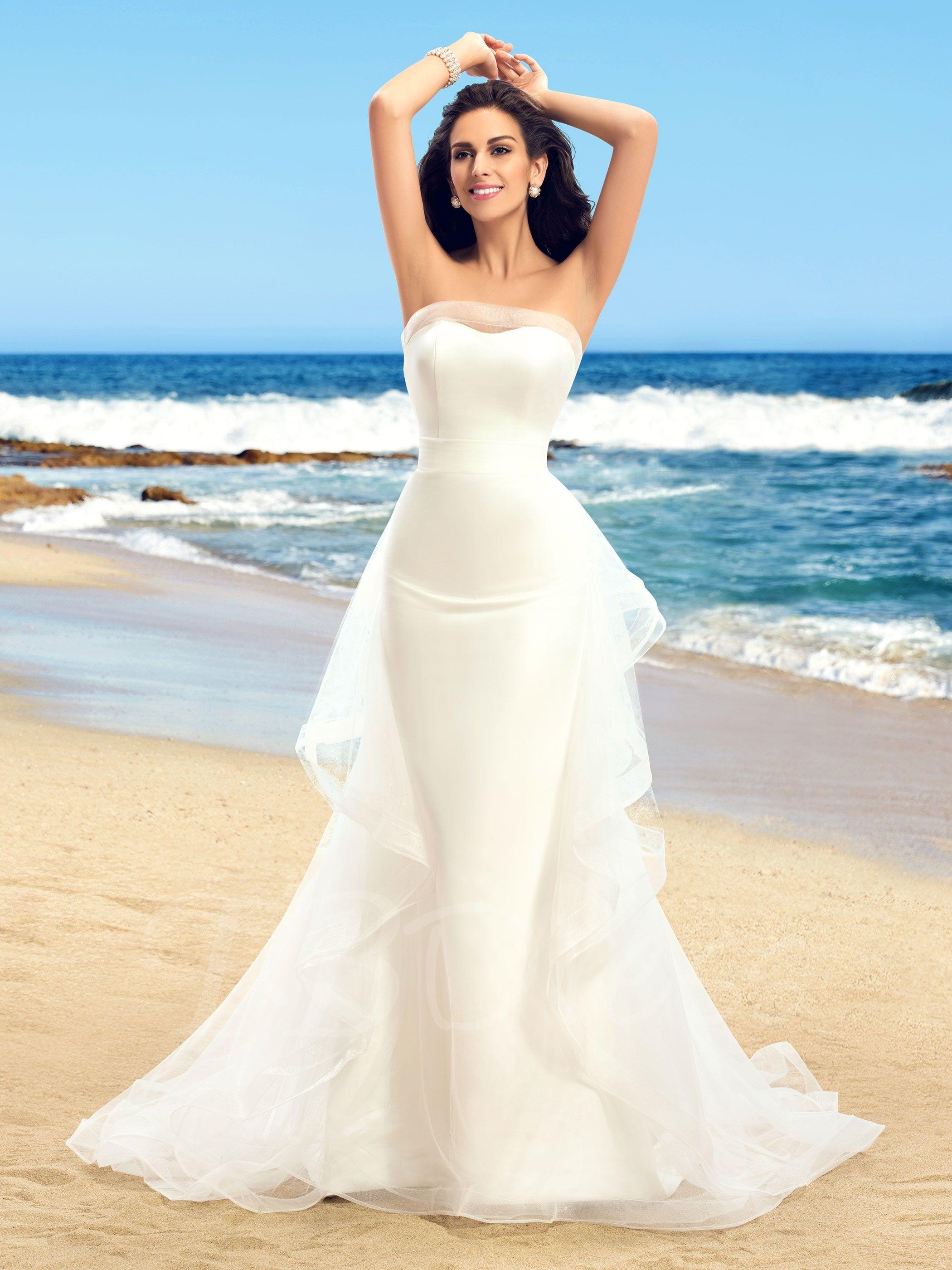 Strapless Trumpet Ruffles Outdoor Wedding Dress in 2019