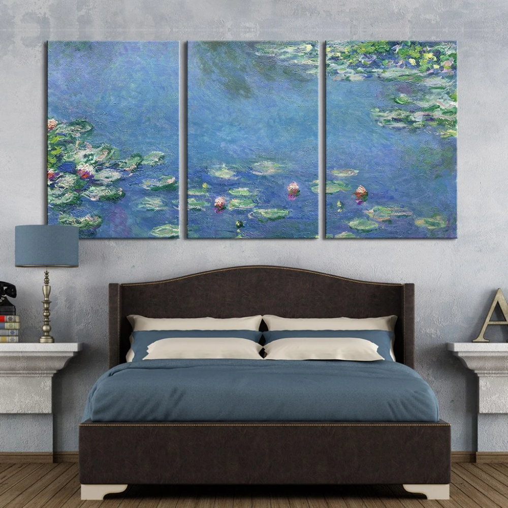 Water Lilies 1906 By Claude Monet Wall Decor X 3 Panels Avail Wall Home Decor Decorate Your Room Wall Decor